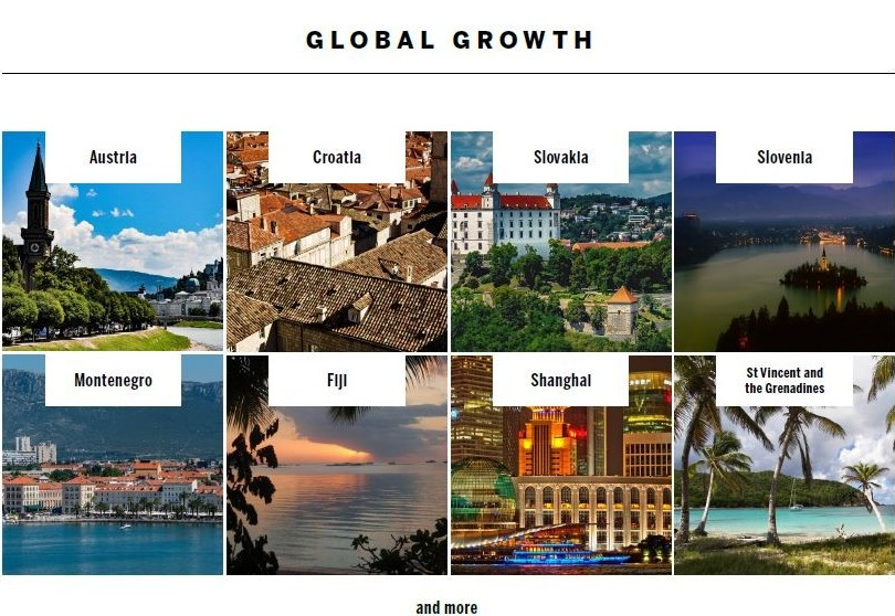 Global Growth included expansion into Autria, Shanghai, Figi and others.